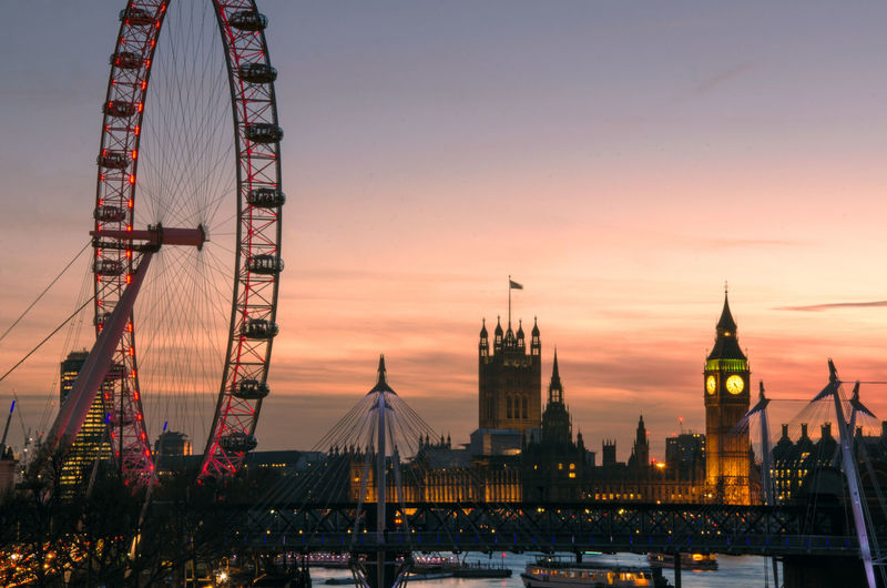 An image taken from Waterloo Bridge in London at sunset, with the houses of parliament, the London Eye and the river thames in shot. Beautiful Christmas Cityscape London Eye Thames Waterloo Westminster Winter Amazing Architecture Arts Culture And Entertainment Bridge Building Exterior City Dusk Houses Of Parliament No People Orange Color Outdoors Pretty River Sky Sunset Travel Destinations Water