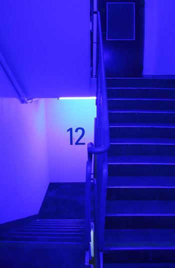 Staircase in illuminated building