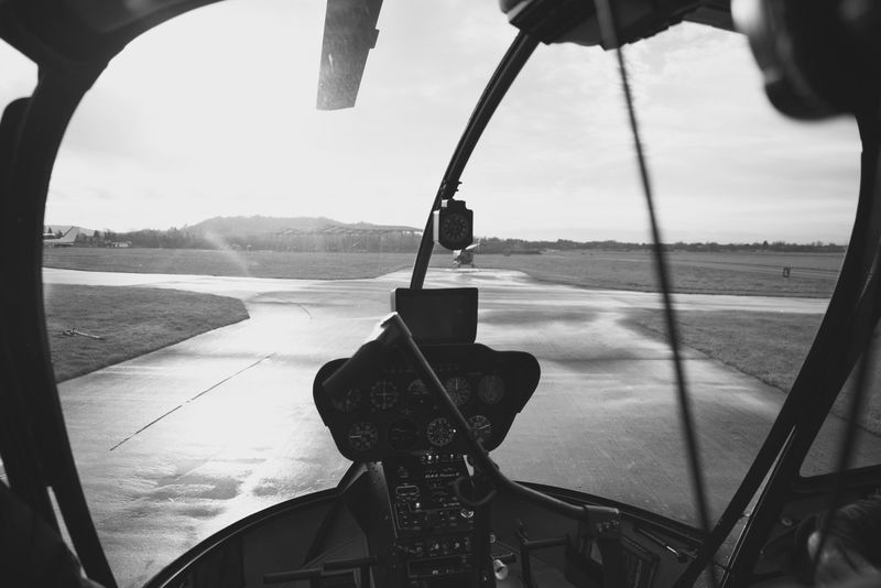 Transportation No People Helicopter Cabin TakeOff Window View Runway Dials Cockpit Flying