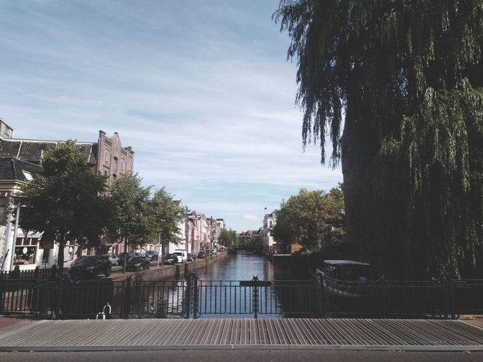 There are no people. Summer Clouds City Simplicity No People Bridge Tree Water Sky Footbridge Bridge - Man Made Structure Urban Scene Canal #urbanana: The Urban Playground