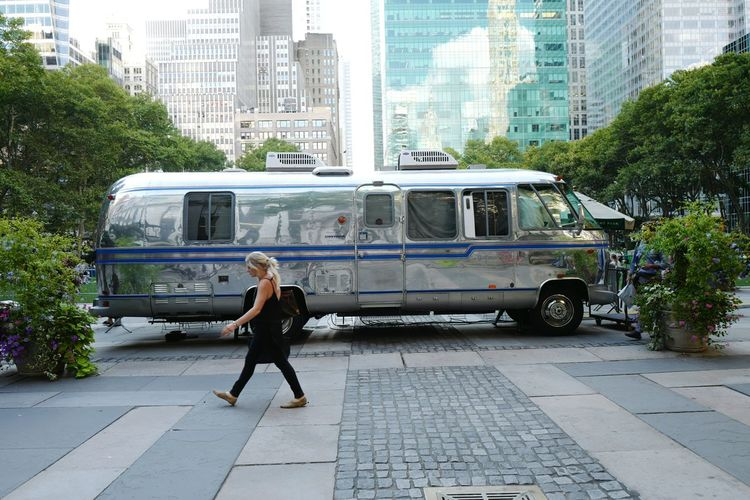 Airstream camper housing 35mm film projector for the Bryant Park Summer Film Festival, August 2016 Bpfilmfest Bryant Park  Film Festival Airstream Camper Bryantpark Filmfestival Airstream Camper Streetphoto_color Midtown Manhattan NYC Leicaq 28mm Eyeemphoto Street Photography Streetphotography