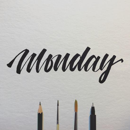 Monday! Arrangement Brush Brushscript Calligraphy Handlettering Lettering Monday No People Weekday Weekend