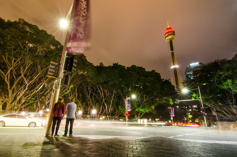 Night Street photography at Queen's square with Sydney tower view. Australia CBD City Dark Downtown Intersection Light Tourist Traffic Architecture Attraction Built Structure Destination Hyde Park Landmark Long Exposure Metropolitan Midtown Night Outdoors People Queen's Square Streetphotography Sydney Tower