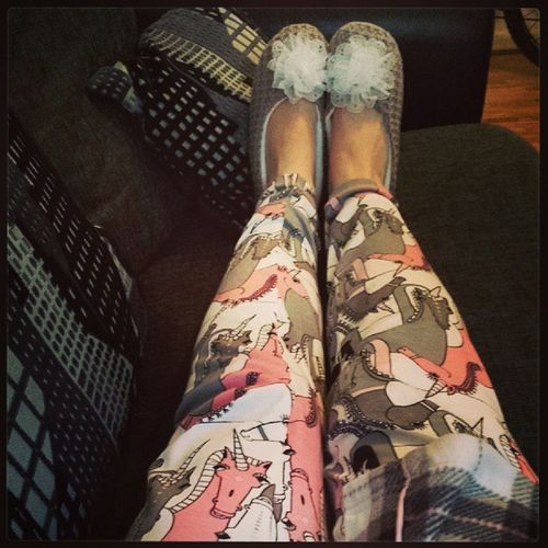 After a long day of waiting/shopping/driving.. it's. . Pjammytime Unicorns Slippers Relax