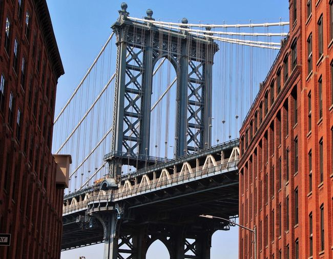 Brooklyn Brooklyn Brooklyn New York Manhattan Bridge NYC Built Structure Architecture Bridge Bridge - Man Made Structure Connection Engineering Low Angle View Travel Destinations Transportation Suspension Bridge Travel Tourism City Day Girder Metal Nature Sky Building Exterior
