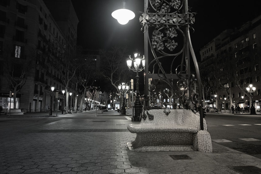 Street in Barcelona city with old lighting equipment Architecture Building Building Exterior City City Street Footpath Glowing Illuminated Light Lighting Equipment Night Outdoors Street Light The Way Forward