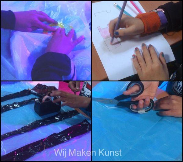 We Made Art Working Hands Children Creativity Plastic Scissors Pencil Drawing