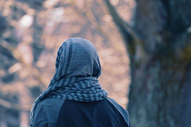 Rear view of woman wearing headscarf