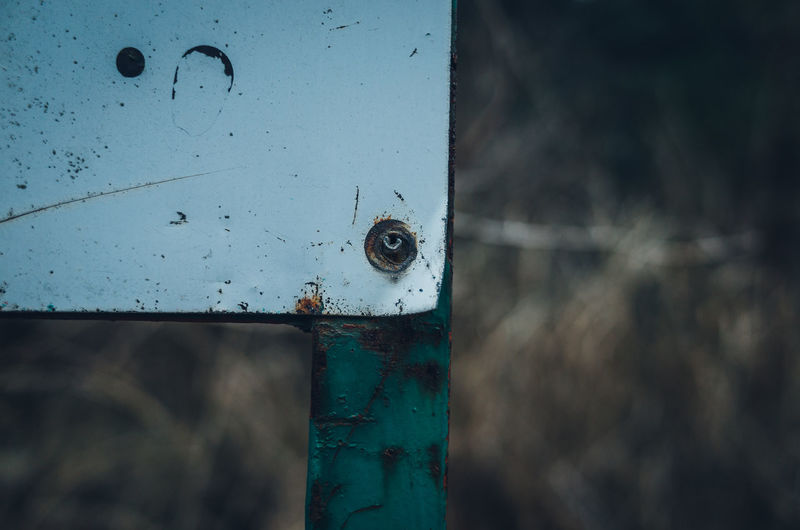 Japan Still Life Abstract Colors Color Redefining Minimal Minimalism Simple Simplicity Getting Inspired Rusty Faded Abandoned No People Close Up Close-up White Green Green Color Screw Weed Metal Day Focus On Foreground Outdoors Old Weathered Nature Wood - Material Security Protection Safety Blue Decline Deterioration Architecture Selective Focus Textured  Countryside My Best Photo