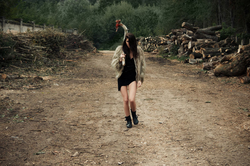 Modern Tools Catwalk Green Linas Was Here Nature Brown Chopped Down Dirty Road Fur Girl Legs Mace Model Wild