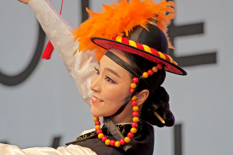 Traditional Korean dancer Dancing In Stockholm Sweden One Person Only Traditional Clothing Colorful Costume Day Headdress Headshot Headwear Korean Culture Festival Audition Outdoors Real People Young Women