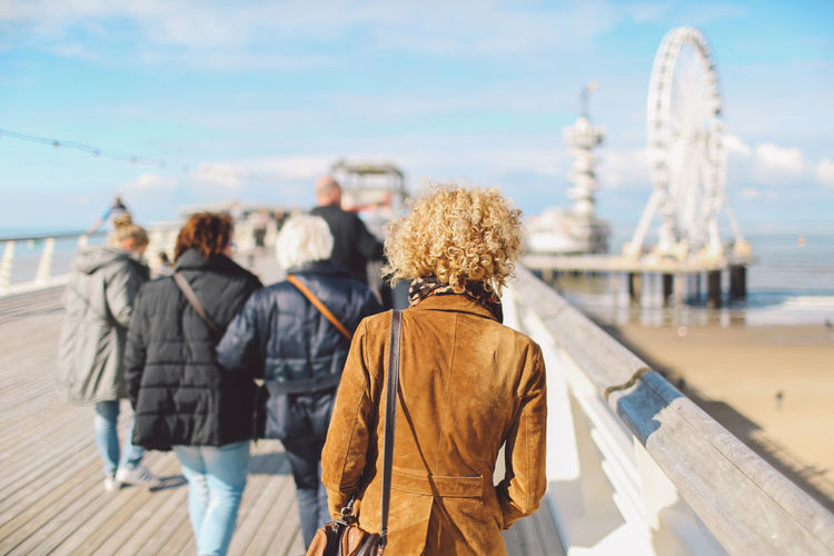 Autumn Beach Blue Sky Clouds Curly Hair De Pier Dutch Ferris Wheel Girl Pier Sea Seaside Shore Sunny