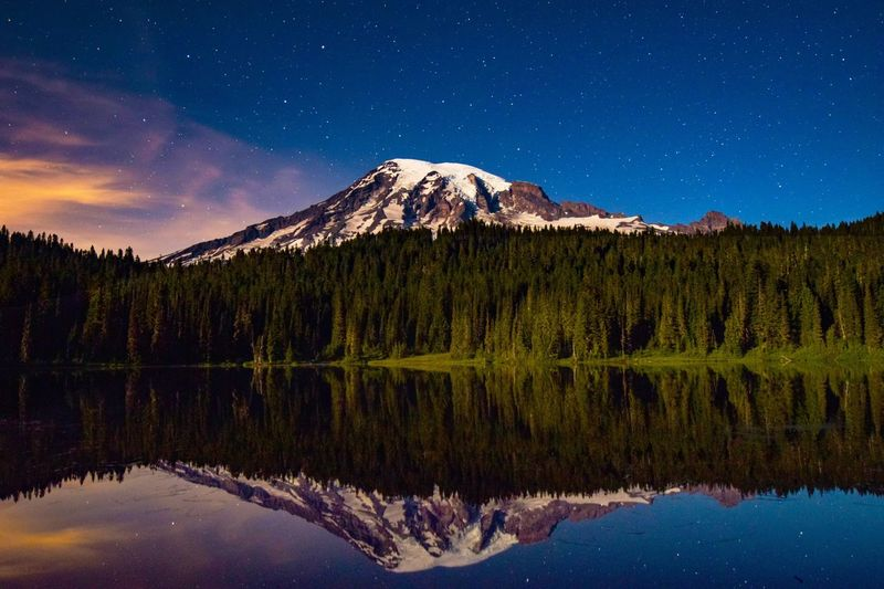 Idyllic Shot Of Mt Rainier With Trees Reflection In Lake At Night