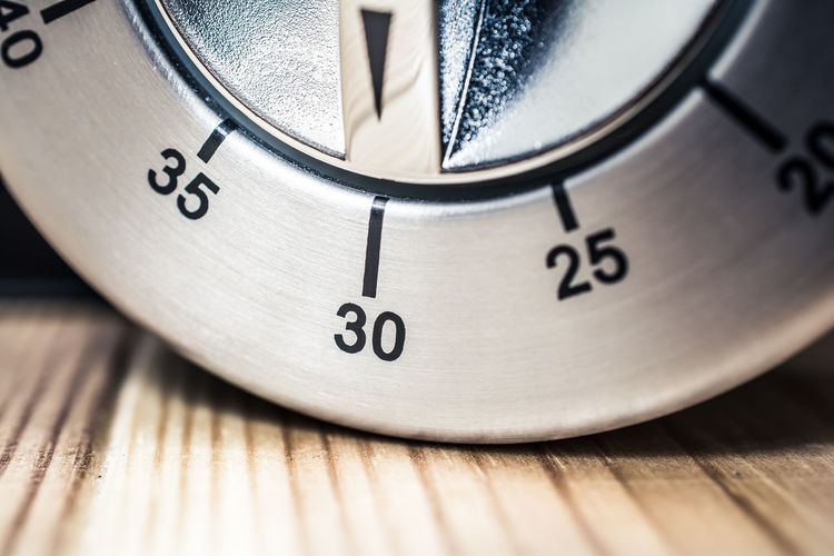 30 Minutes - Macro Of An Analog Chrome Kitchen Timer On Wooden Table 2⃣5⃣ 30 35 Countdown Reflection Aluminum Black Chrome Counting Down Digital Art Egg Timer Hours Kitchen Metal Metallic Minutes Number Seconds Silver  Thirty Thirty-five Time Timer Twenty-five