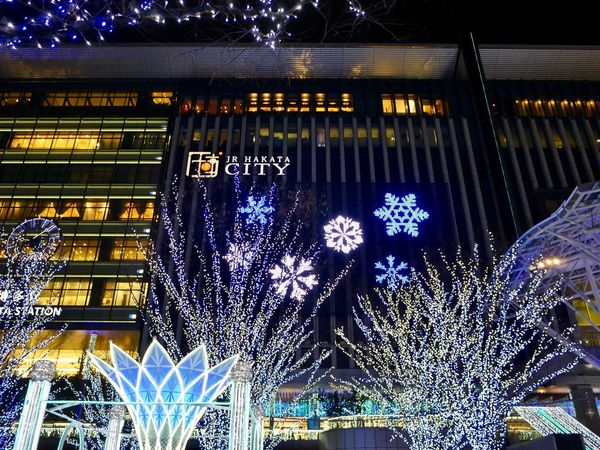 JR HAKATA Station Hakata side Square. FUKUOKA City Japan. Panasonic LUMIX GX8+LUMIX G VARIO 14-45/F3.5-5.6 28mm No Filter No edit No Crop full Frame de Good Christmas to you Merry Christmas🎄🎅🏻 JR博多シティ Looking Up Micro Four Thirds Celebration Event 28mm Full Frame No Edit No Filter Christmas Lights Jr Hakata City Winter Wonderland Illuminated Night No People Low Angle View Architecture Close-up