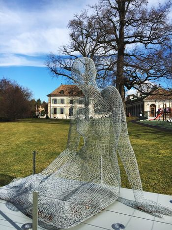 Art.. Statue Sculpture Art Design Cologny Swiss Switzerland Outdoorart Wire 3D Art 3D Effect Woman Feminine  Nude_art Alps Sky Womanportrait Womanwithcurves Nature Tree Fruitful Country Life Country House
