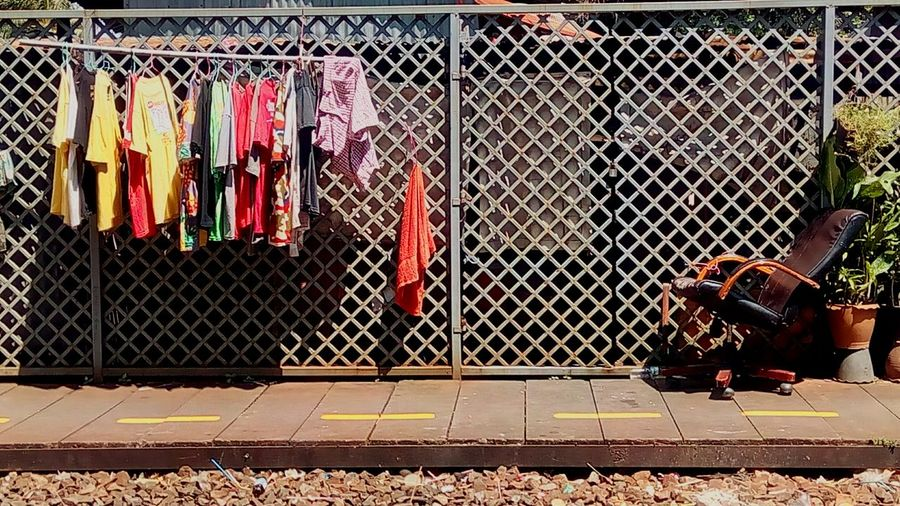 Dry Clothes Drying Clothes Dry Clothes Outside View At Train Station Dry Clothes At The Roadside Train Station Story Dry Clothes In The Sun Life Style Creative Photography Train Station Roadside
