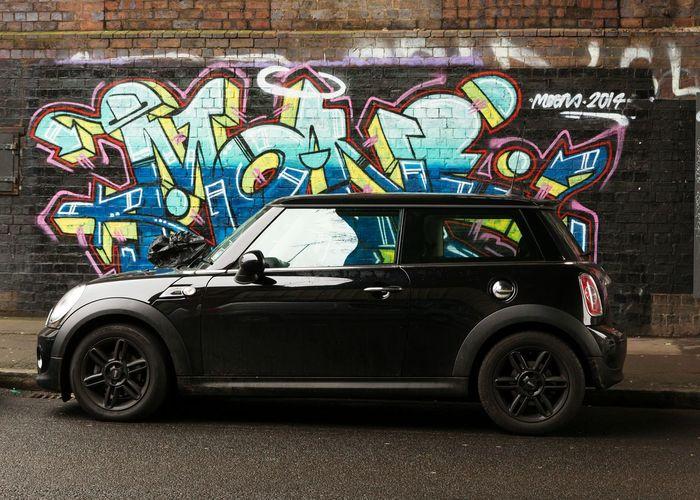 Mini Parked Car Streetphotography Graffiti Wallart Street Art Mini Cooper Mini Street