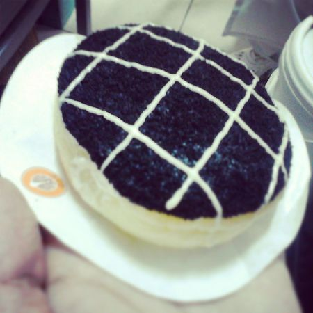 A delicious Cheesecakelicious with cream cheese inside and oreo powder on the top Jcodonuts Creamcheese Doughnut Instagood Indonesia