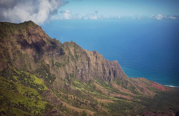 Age of Dinosaurs! Hawaii Nature Beauty In Nature Scenics Mountain Landscape Tranquility Tranquil Scene Outdoors Idyllic Day Physical Geography Sea No People Sky Scenic Lookout Kalalau
