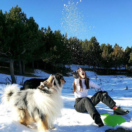 Pets Animal Themes One Animal Dog Full Length Friendship Animal Motion Mature Adult One Person Adults Only Water Tree Domestic Animals People Mammal Only Women Outdoors Adult Day Women Around The World TCPM Pet Portraits