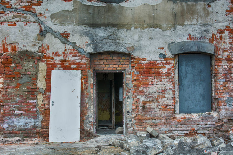 Architecture Built Structure Building Exterior Door Old Entrance Weathered Wall - Building Feature Building No People Day Wall Abandoned Damaged Window Decline Run-down History Deterioration Closed Outdoors Brick Ruined