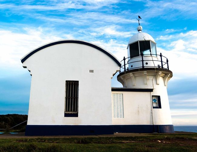 Port Macquarie Lighthouse Architecture Sky Cloud - Sky Building Exterior Day Outdoors No People Beach Water Horizon Over Water Beauty In Nature Travel Close-up