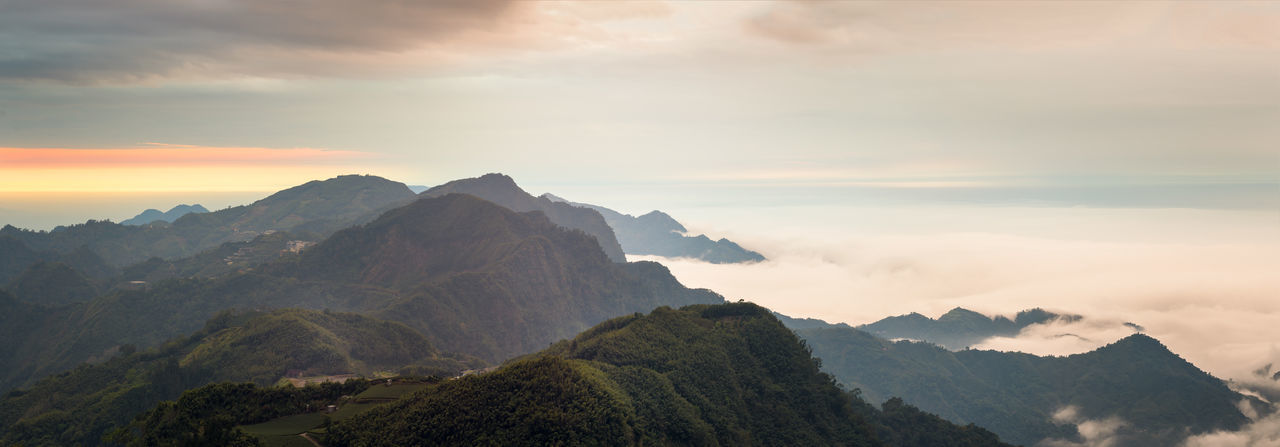 7 shots panorama in the beautiful mountains of Alishan in Taiwan. Cloud Inversion Panorama Panoramic Taiwan Travel Alishan Cloud - Sky Clouds Landscape Mountain Mountain Range Mountains Nature Panoramic Landscape Scenics Sunset Tranquil Scene Tranquility Travel Destinations Wallpaper