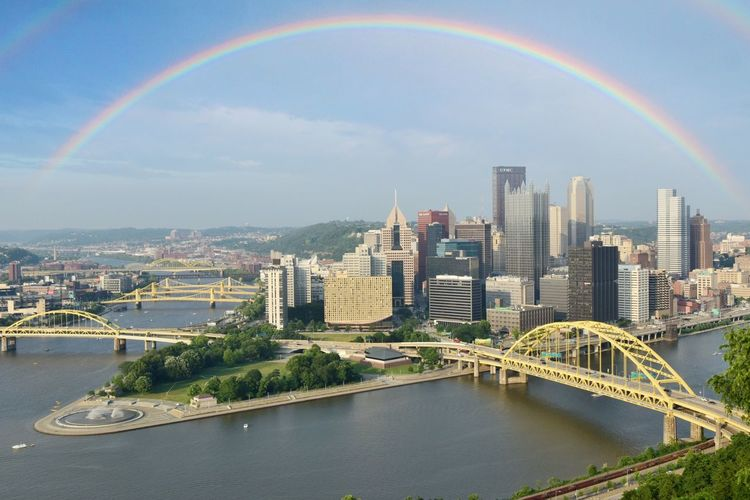 Scenic view of rainbow over river and buildings against sky