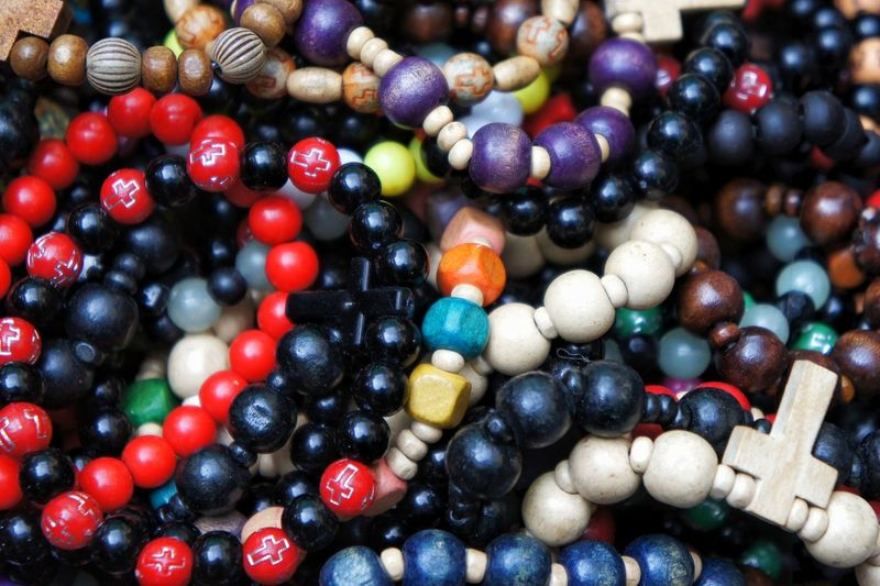 Full Frame Shot Of Multi Colored Rosary Beads