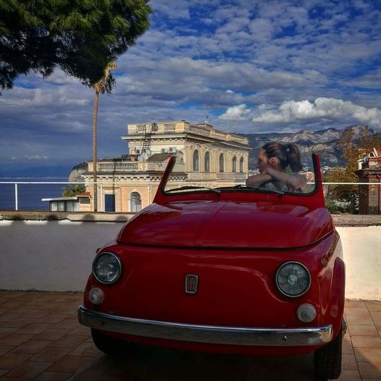 Sorrento, Italia Red Car Retro Styled Old-fashioned Outdoors One Person
