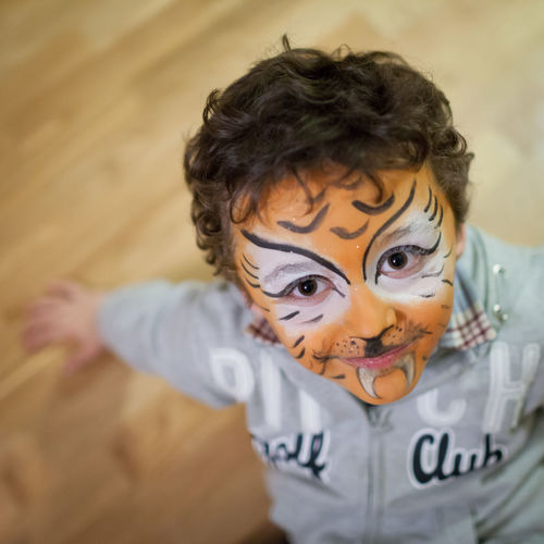 High Angle Portrait Of Happy Boy With Face Paint