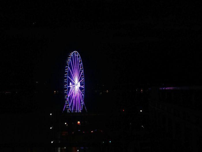 Night Illuminated Arts Culture And Entertainment Sky Ferris Wheel No People Outdoors Boardwalk Blue Purple Rainy Days N Rainy Nights Seattle, Washington Seattle Skyline Ferris Wheel