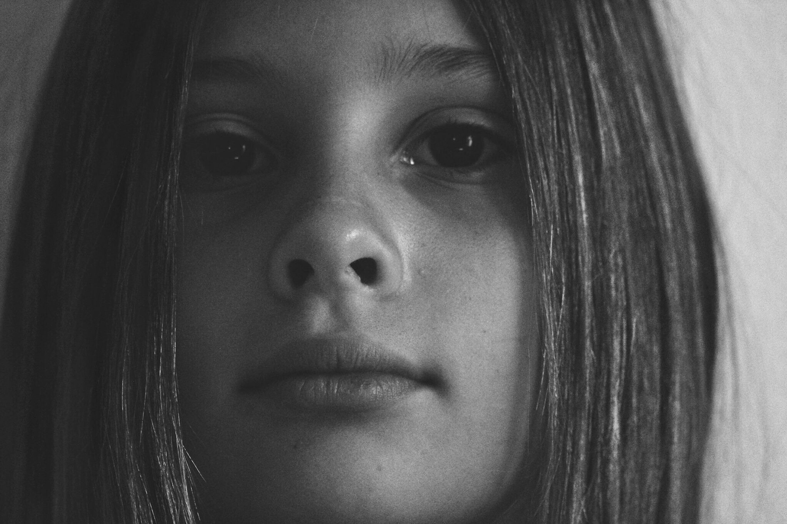 headshot, person, looking at camera, portrait, indoors, close-up, human face, young women, lifestyles, childhood, front view, young adult, long hair, leisure activity, girls, elementary age, head and shoulders