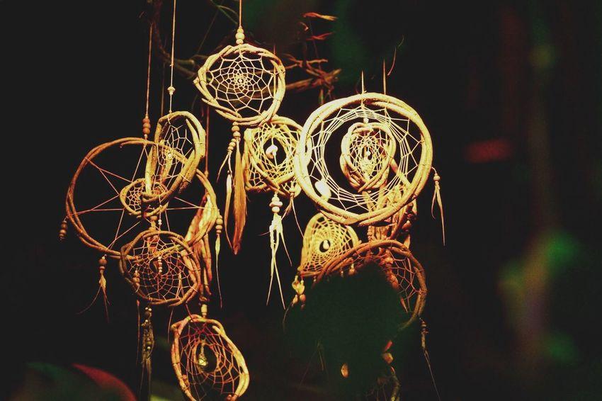No People Decoration Art And Craft Close-up Night Hanging Illuminated Dreamcatcher Positive Emotion