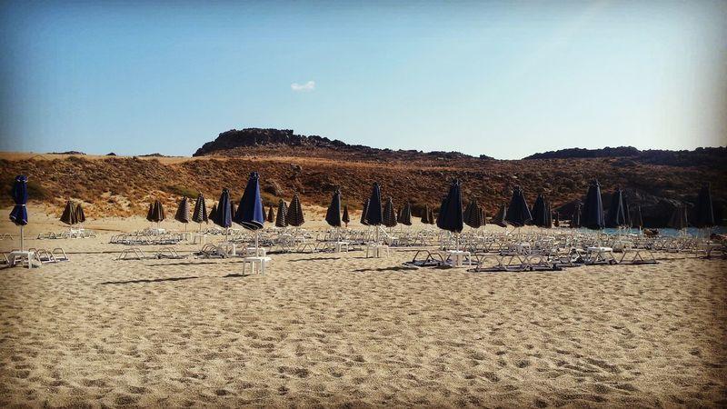 EyeEm Selects Sand Closed Umbrellas Crete Empty Seats