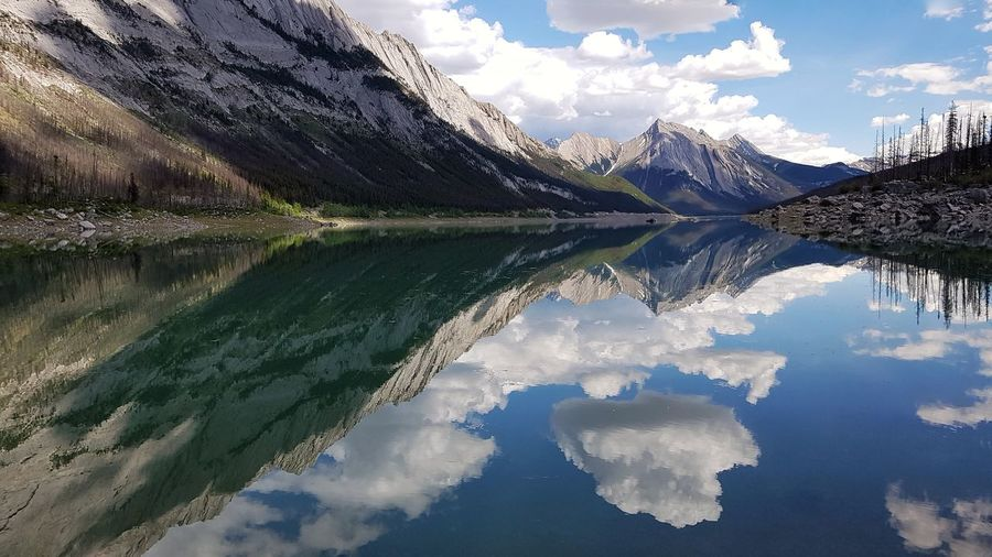 The Great Outdoors - 2019 EyeEm Awards Water Tree Mountain Lake Snow Reflection Symmetry Sky Landscape Mountain Range Rocky Mountains Idyllic Tranquil Scene Reflection Lake Scenics Tranquility Calm