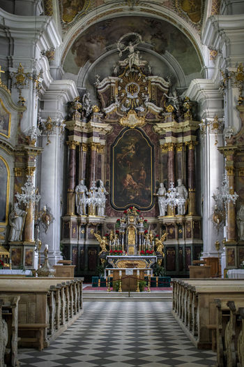 Aisle Altar Architectural Column Architecture Art And Craft Belief Building Built Structure Church Architecture Human Representation Indoors  No People Ornate Pew Place Of Worship Religion Representation Sculpture Spirituality Statue