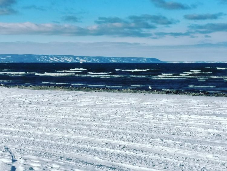 Somewhere in Ontario, 2016 Water Sea Beach Low Tide Sand Wave Sky Horizon Over Water Landscape Cloud - Sky Snow Frozen Winter Deep Snow Tire Track Snow Covered Seascape