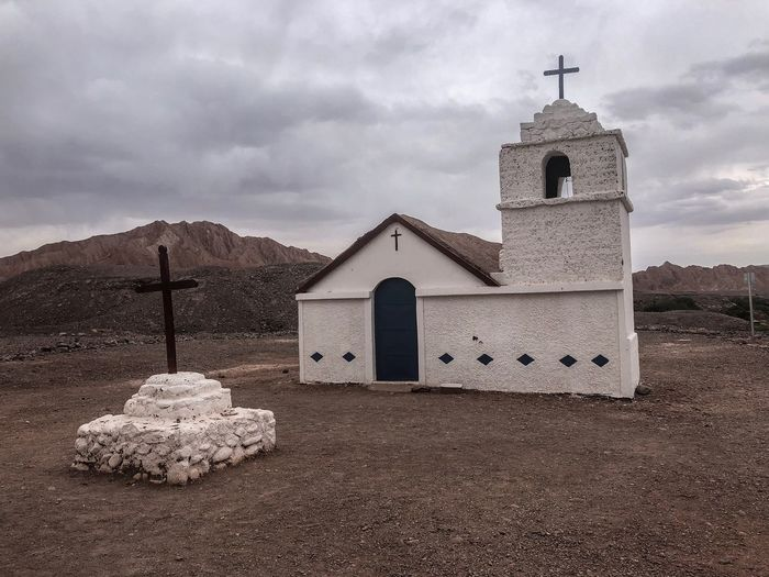 Beautiful remote church Church Atacama Desert Chile Desert Cloud - Sky Built Structure Architecture Sky Building Exterior Place Of Worship Building Religion No People Spirituality Outdoors Cross