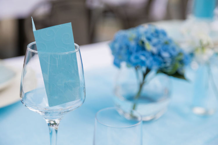 Blue Flower No People Indoors  Close-up Wineglass Celebration Table Day Luxury Fragility Perfume Freshness