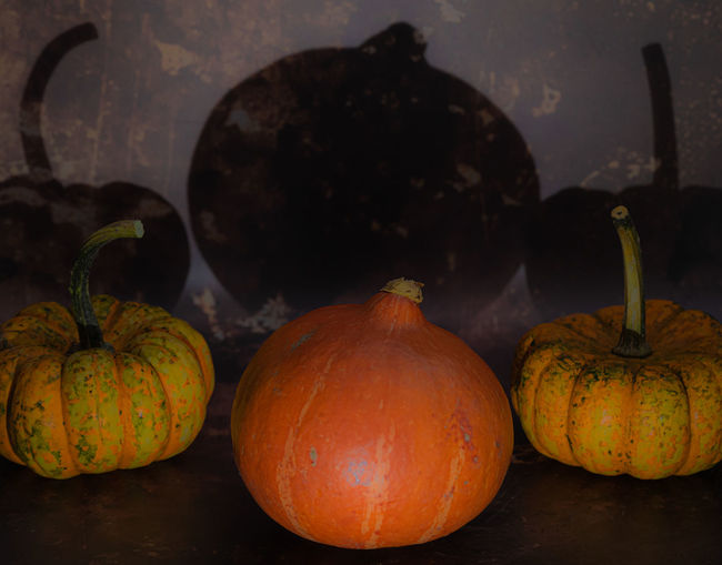 High angle view of pumpkins on table