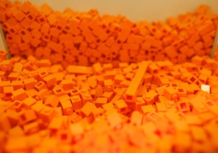 Detail shot of orange table