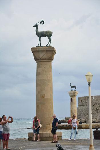 The Colossus Of Rhodes Rhodes Ródos Sea Seaside Faliraki Cloud Aquamarine Big Cloud Kolos Rodyjski