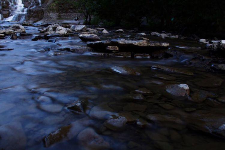 River flowing in sunlight