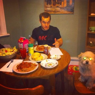 Made dinner for my men!! Yummo Spaghetti Dinner Lovers myman dog pomerainian homemade wintermeals