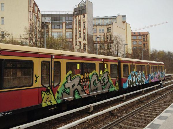Graffiti Streetart on a Train in Berlin