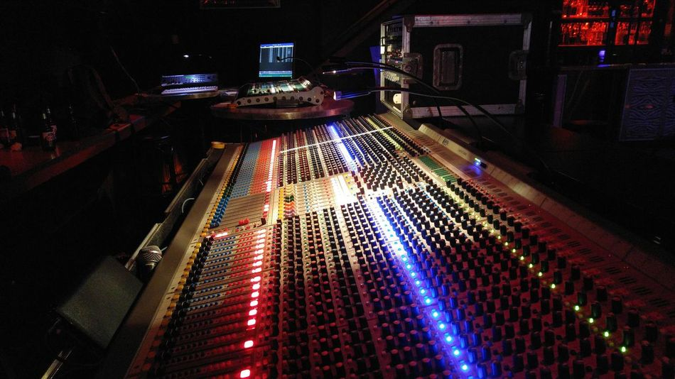 Recording Console Multi Colored Recording Recording Studio Illuminated Sound Lighting Venue Music Show Rock Engineer Stage Light Stage Montreal Rocks Popular Music Concert Stage - Performance Space