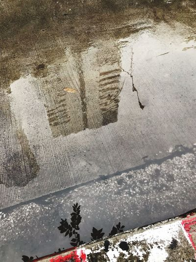 High angle view of snow on puddle