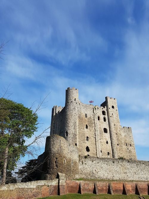 Architecture Blue Brown Castle Castle Tower Cloud - Sky Day Green Colour Green Tree High Historic History Low Angle View Medway Nice View No People Outdoors Rochester Castle Rochester, Kent Sky Slight Cloud Sky Tall - High Travel Destinations White White Color